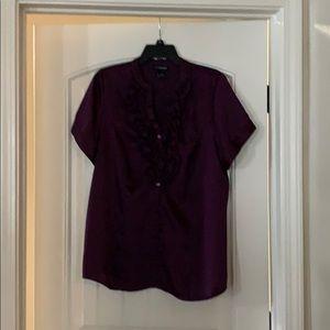 Purple button down blouse 100% polyester